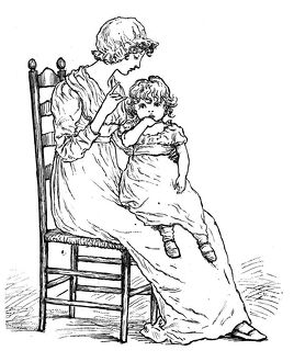 Antique children spelling book illustrations: Mother and daughter