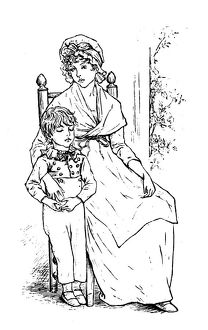 Antique children spelling book illustrations: Mother and son