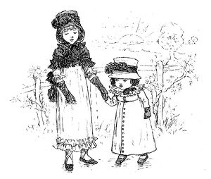 Antique children spelling book illustrations: Holding hands