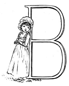 Antique children spelling book illustrations: Alphabet letter B
