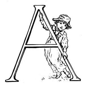 Antique children spelling book illustrations: Alphabet letter A