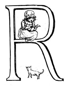 Antique children spelling book illustrations: Alphabet letter R