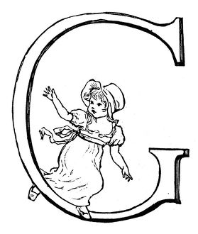 Antique children spelling book illustrations: Alphabet letter G