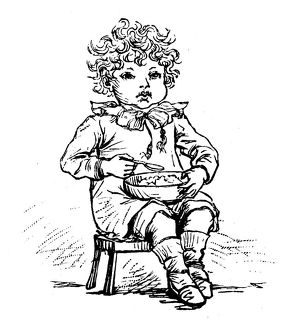 Antique children spelling book illustrations: Eating
