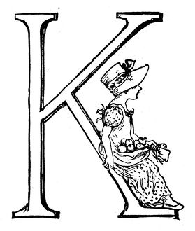 Antique children spelling book illustrations: Alphabet letter K