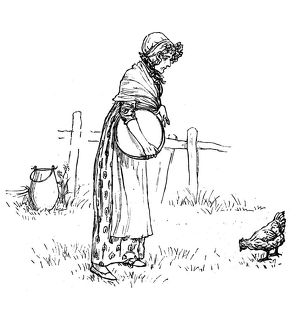 Antique children spelling book illustrations: Woman with chicken