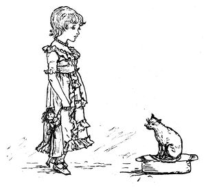 Antique children spelling book illustrations: Cat