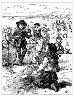 Antique children's book comic illustration: people on the beach