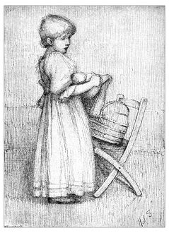 Antique children's book comic illustration: little girl with doll