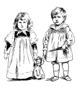 Antique children's book comic illustration: boy and girl with toys