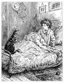 Antique children's book comic illustration: cat on child's bed