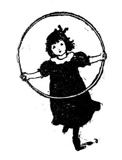 Antique children's book comic illustration: little girl with ring