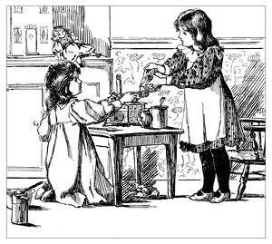 Antique children's book comic illustration: little girls playing