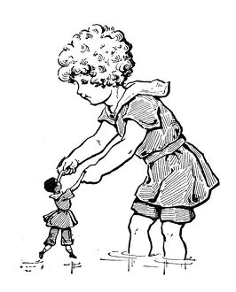 Antique children's book comic illustration: child playing with doll