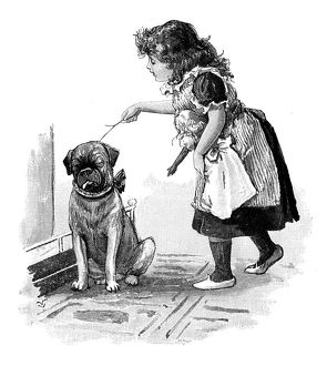 Antique children's book comic illustration: little girl with dog