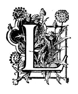 Antique children's book comic illustration: Ornate letter L
