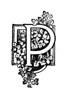 Antique children's book comic illustration: Ornate letter P
