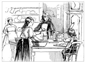 Antique children's book comic illustration: women in the kitchen
