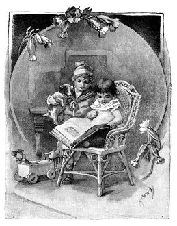 Antique children's book comic illustration: children with book and dog