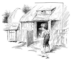 Antique children's book comic illustration: poor boy outdoor
