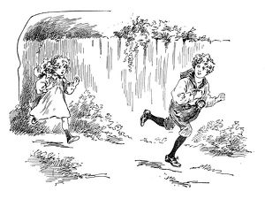Antique children's book comic illustration: children running outdoor