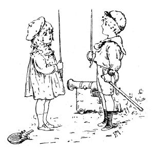 Antique children's book comic illustration: boy and girl with swords