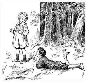 Antique children's book comic illustration: children outdoors