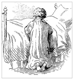 Antique children's book comic illustration: child praying in bed