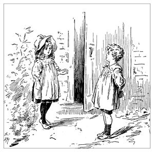 Antique children's book comic illustration: boy and girl