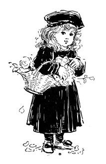 Antique children's book comic illustration: little girl with flowers