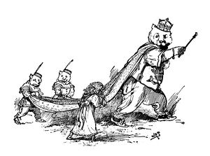 Antique children's book comic illustration: king bear