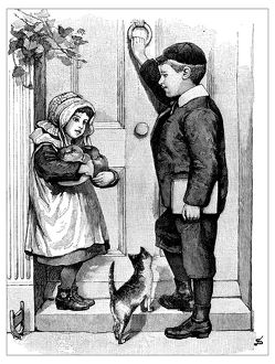 Antique children's book comic illustration: girl and boy knocking door