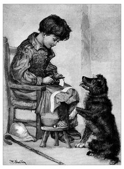Antique children's book comic illustration: child and dog