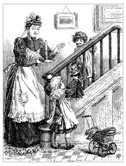 Antique children's book comic illustration: woman with children indoor