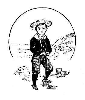Antique children's book comic illustration: boy playing on the beach