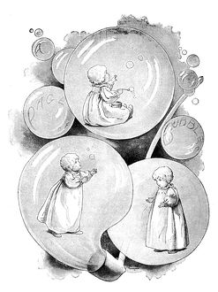 Antique children's book comic illustration: child inside soap bubbles