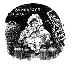 Antique children's book comic illustration: little girl on luggage