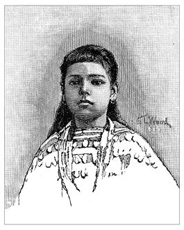 Antique children's book comic illustration: native american girl
