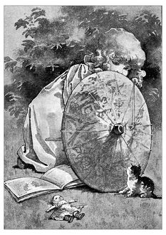 Antique children's book comic illustration: little girl with cat