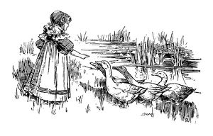 Antique children's book comic illustration: little girl feeding geese