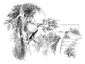 Antique children's book comic illustration: girl on tree