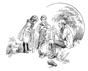 Antique children's book comic illustration: man with children
