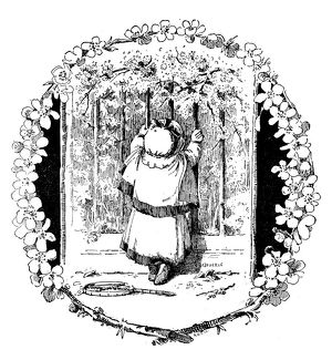 Antique children's book comic illustration: child looking through gate