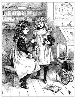 Antique children's book comic illustration: girls repairing toys dolls