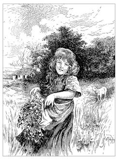 Antique children's book comic illustration: little girl outdoor