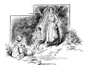 Antique children's book comic illustration: woman with children