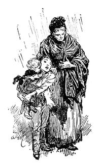 Antique children's book comic illustration: mother with children under rain