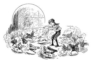 Antique children's book comic illustration: boy with dog and chickens