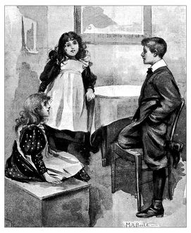 Antique children's book comic illustration: children indoor