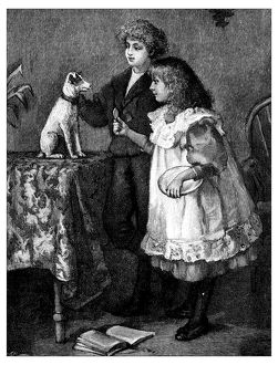 Antique children's book comic illustration: children feeding dog